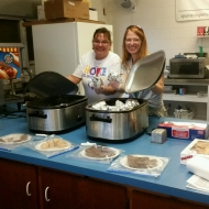 Kim Christner working in the canteen at a Relay for Life event.